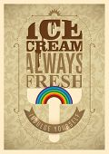 Vintage ice cream poster design. Vector illustration.