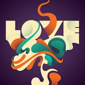 Illustrated love background with abstraction. Vector illustration.