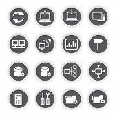 network icons, database icons