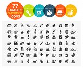set of 77 high quality supermarket, shopping and online shopping icons including organic food, merch