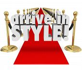 Arrive in Style red carpet VIP entrance event, party grand glamour, chic beautiful fashion