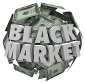 Black Market words sphere of money, hundred dollar bills illegal or unreported transaction