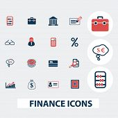 finance, investment, bank, credit icons, signs, symbols, vector set