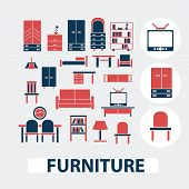 furniture, house items, tv, desk, table, cupboard icons, signs, symbols set, vector
