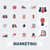 marketing, management, presentation, strategy icons, signs, symbols, vector set