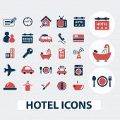 hotel, motel, restaurant, vacation, room service icons, signs, symbols, vector set