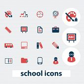 school, education icons, signs, symbols, vector set