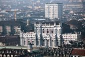 TURIN, ITALY - JANUARY 11, 2013: View to Palazzo Carignano from the Mole Antonelliana. Built in XVII