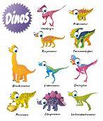 dinosaurs set: brachiosaurus, fabrosaurus, heterodontosaurus, maiasaura, nodosaurus, oviraptor, parasaurolophus, riojasaurus, stegosaurus and unenlagia