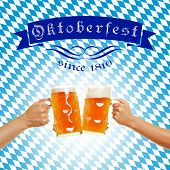 Oktoberfest in Bavaria with beer in glasses in front of bavarian flag