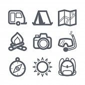 Travel and vacation Icons set Illustration set // 04