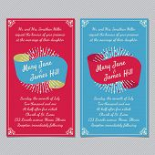 Wedding invitation card template vector vintage background. Retro style