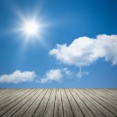 An image of a bright sun blue sky background