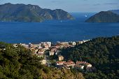 MARMARIS, TURKEY - APRIL 17, 2014: Aerial view to the bay of Marmaris. Marmaris population increases