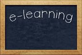 A nice black chalkboard with text e-learning
