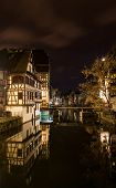 Alsatian Style Houses In Petite France Area Of Strasbourg