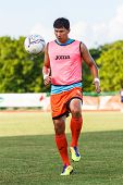 Sisaket Thailand-july 6: Chatchai Mokkasem Of Sisaket Fc. In Action During A Training Ahead Thai Pre