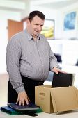 Overweight Middle-aged Man Got A New Job In The Office
