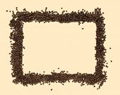 coffee beans arranged as a frame on cream background