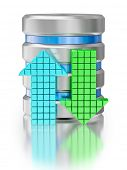Database upload download creative concept background - hard disk drive data storage database icon sy