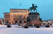 STOCKHOLM, SWEDEN - JANUARY 5, 2012: Equestrian statue of King Gustav II Adolf against the Royal Swe
