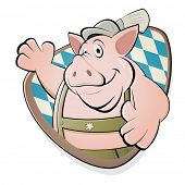 funny cartoon pig in bavarian lederhosen