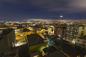 SAN FRANCISCO, CALIFORNIA - July 5, 2014:  Night cityscape of South of Market neighborhood in urban