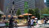People Enjoying Campus Martius Park In Detroit, Mi