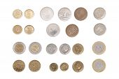 stock photo of iranian  - Arrangements of Iranian coins on the white background - JPG