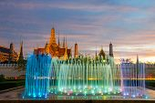 Fountain Night Light Of Landmark Of Sanam Luang, Bangkok, Thailand