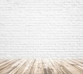 Background of age grungy texture white brick and stone wall with light wooden floor with whiteboard inside old modern and contemporary empty interior, blank color horizontal space of clean studio room