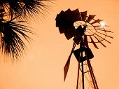 Rural Wind Mill at sunset