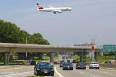 Austrian Airlines Boeing 777 on approach to JFK International Airport in New York