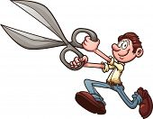 Man running with scissors. Vector clip art illustration with simple gradients. All in a single layer