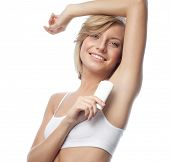 armpit axillary space attractive young caucasian woman  body care isolated  on white background studio shot figure body applying deododant
