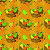 Seamless pattern, baskets and fruits pears