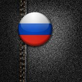 Russia Badge on Black Denim Jeans Fabric Texture Vector