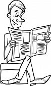 Man With Newspaper Coloring Page
