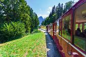 Steam Locomotive Of A Vintage Cogwheel Railway Going To Schafberg Peak