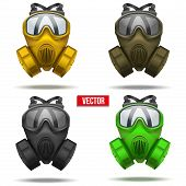 pic of rubber mask  - Set of gas mask respirator - JPG