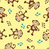 Dancing Monkey To Music Seamless Pattern