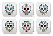 Mexican sugar skull, Dia de los Muertos buttons