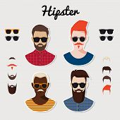 Set of vector hipster characters