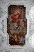 WURZBURG, GERMANY - JULY 18: Risen Christ, fresco painting in the Neumunster Collegiate Church in Wu
