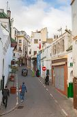 Tangier, Morocco - March 22, 2014: Street View Of Old Medina Area In Tangier, Morocco. Ordinary Peop