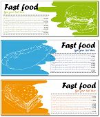 Fast food menu cards with burger, hot dog and sandwich