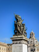picture of emanuele  - Monumento Nazionale a Vittorio Emanuele II (National Monument to Victor Emmanuel II) or Altare della Patria (Altar of the Fatherland) built in honour of Victor Emmanuel in Rome, Italy.