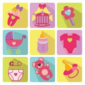 Cute Cartoons Icons For Newborn Baby Girl