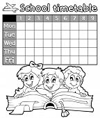 Coloring book school timetable 2 - eps10 vector illustration.