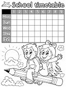 Coloring book school timetable 3 - eps10 vector illustration.